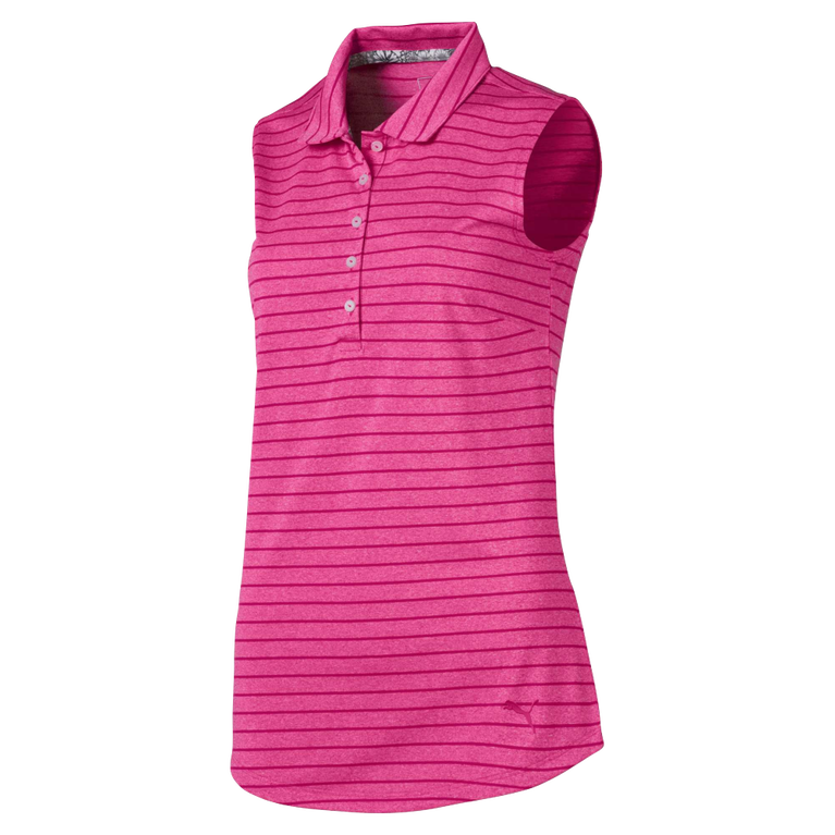 Hot Pink Group: Rotation Stripe Sleeveless Golf Polo