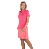 Alternate View 2 of Pink Lady Collection: Short Sleeve Striped Raglan Golf Polo