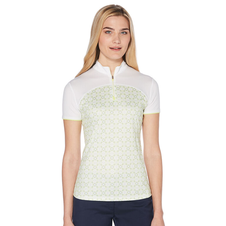 PGA TOUR Women's Short Sleeve Printed Polo with Mesh