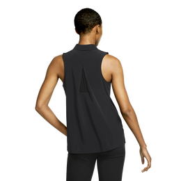 Flex Sleeveless Woven Pleat Back Golf Polo