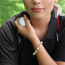 Golf Goddess Two-Tone Golf Ball Bead Stroke Counter Bracelet
