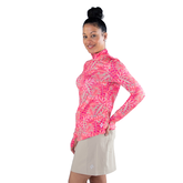 Alternate View 4 of Pink Lady Collection: Long Sleeve Leaf Print Quarter Zip Pull Over
