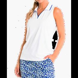 Striped Trim Collar Sleeveless V-Neck Polo Shirt