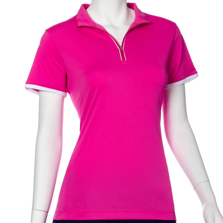 Treasure Island Group: Short Sleeve Contrast Trim Convertible Collar Polo