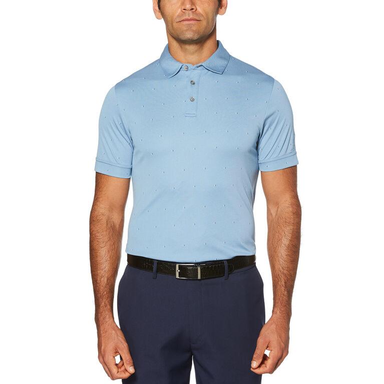 Allover Mini Print Air Texturized Yarn Short Sleeve Polo Golf Shirt
