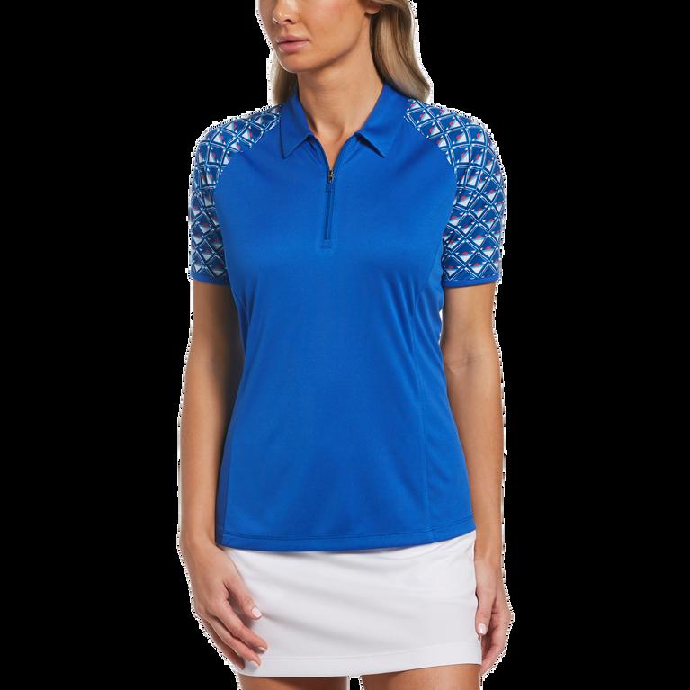 Blue Geo Collection: Geo Print Short Sleeve 1/4 Zip Shirt