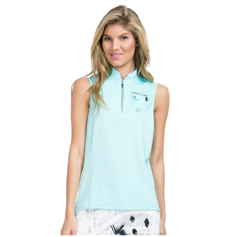 Pacifica Group: Sleeveless Solid Quarter Zip Polo