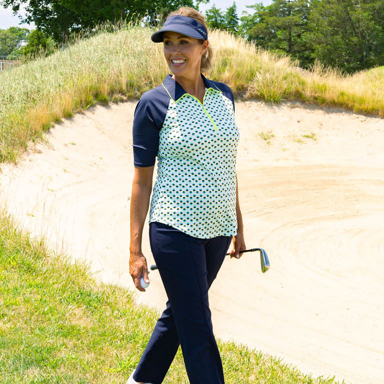 Limonata Collection: Short Sleeve Dot Print Quarter Zip Polo Shirt