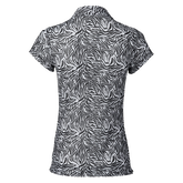 Alternate View 3 of Kiara  Black Tiger Print Mesh Short Sleeve Polo