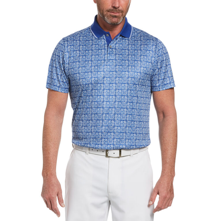 Floral Batik Print Short Sleeve Golf Polo Shirt