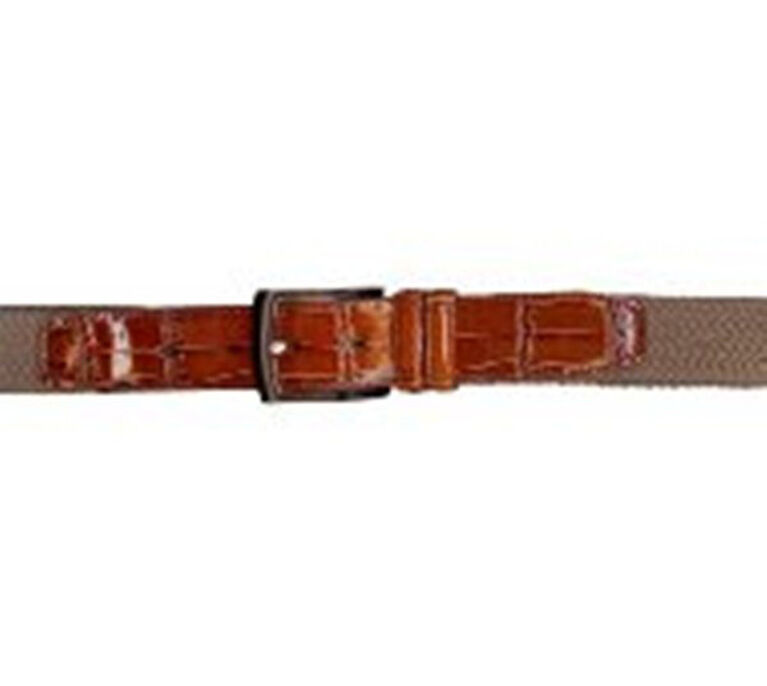 PGA TOUR Canvas W/Croco Print Leather Center Belt