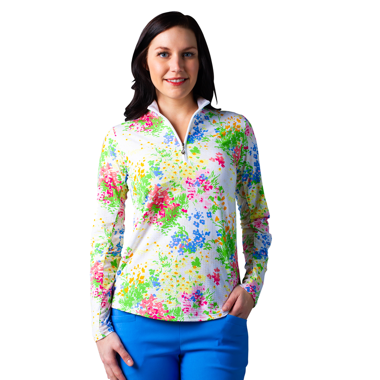 Watercolor Florals Mock Quarter Zip Pull Over Top