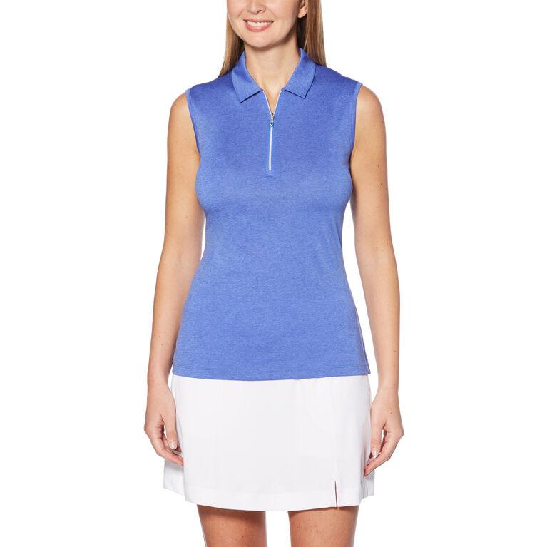 1/4 Zip Heather Print Sleeveless Golf Polo