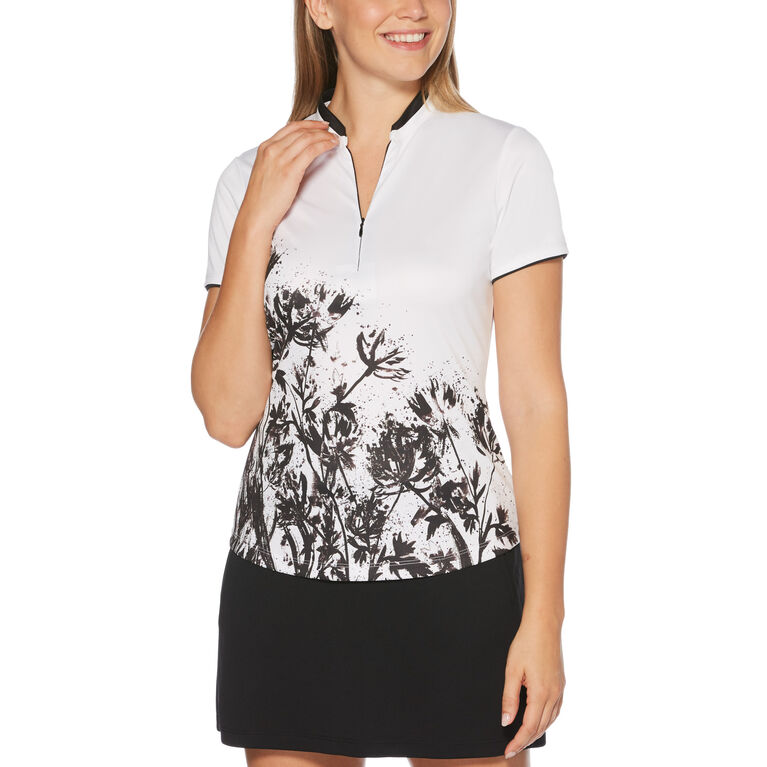 PGA TOUR Black and Blues Collection:Floral Splash Short Sleeve Golf Shirt