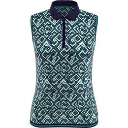 On the Green Collection: Sleeveless Geo Print Polo