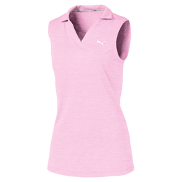 Girls Sleeveless Heather Polo