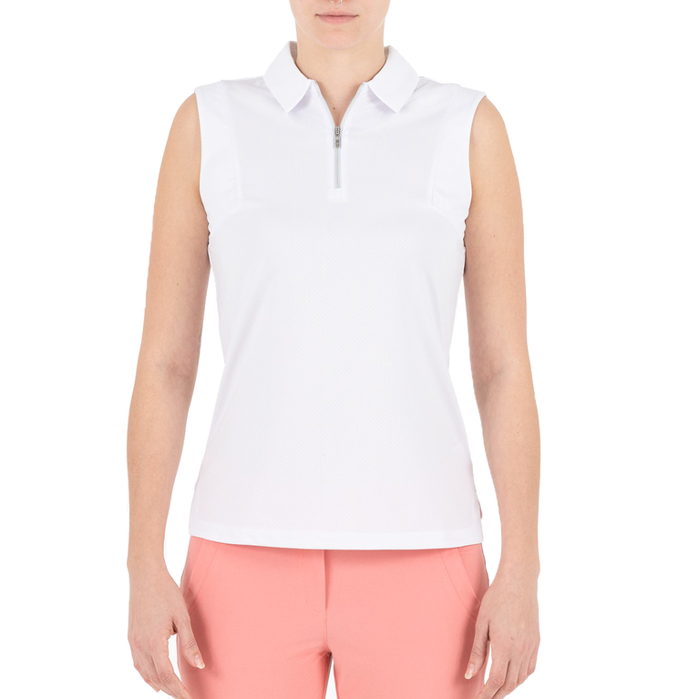 Pink Art Collection: Sleeveless Jacquard Textured Polo