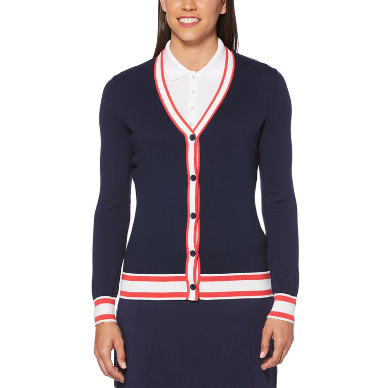 Teaberry Group: Coolmax Long Sleeve Golf Sweater Cardigan