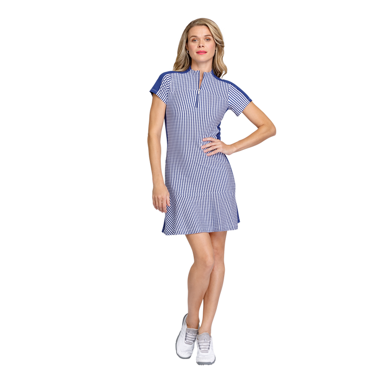 Greek Isles Collection: Katie Short Sleeve Striped Jacquard Dress