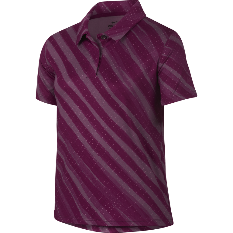 Girls Short Sleeve Diagonal Stripe Polo