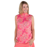 Alternate View 1 of Pink Lady Collection: Sleeveless Leaf Print Mock Shirt
