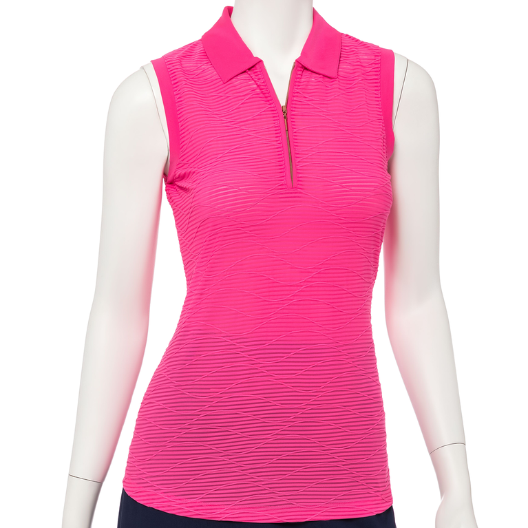 Soleil Collection: Sleeveless Wave Print Polo