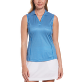 Blue Geo Collection: Gingham Sleeveless Polo Shirt