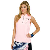 Cupid Group: Sleeveless Solid Quarter Zip Polo