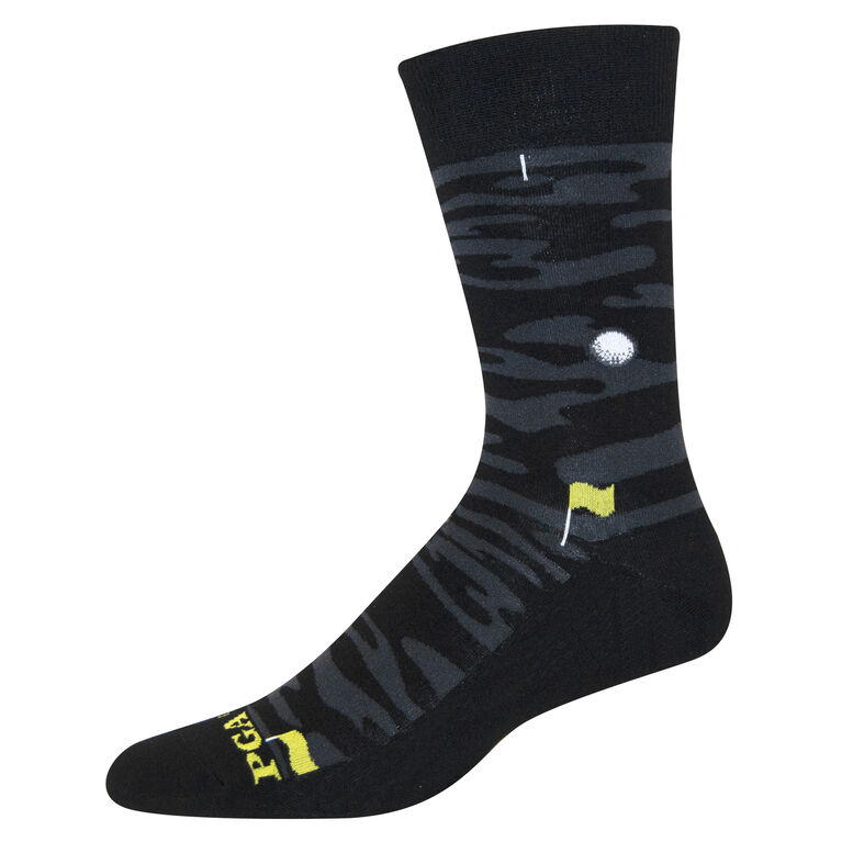 Clubhouse Camo Course Ball Pattern Flat Knit Crew Socks