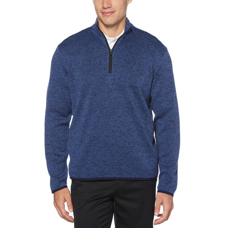 Mens Heather Fleece Back 1/4-Zip Sweater with Binding