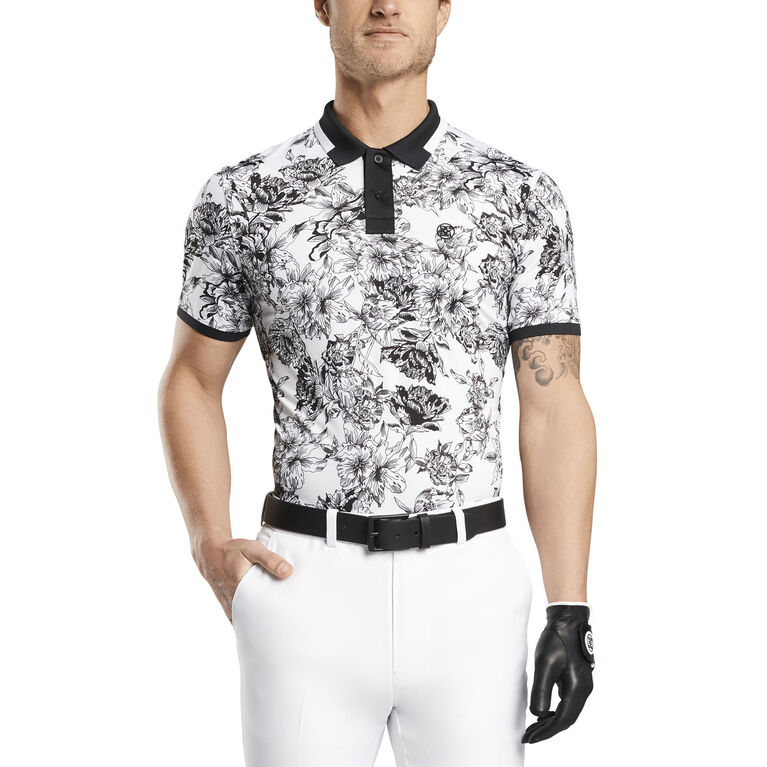 Floral Toille Printed Polo Front Cut
