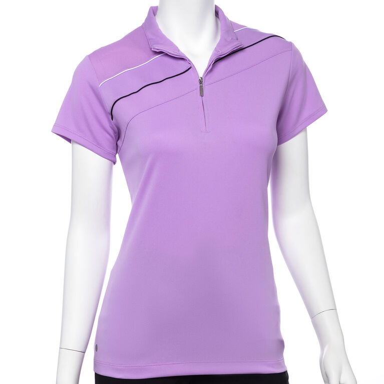 Club Med Group: Cap Sleeve Contrast Piping Trim Convertible Zip Collar Polo