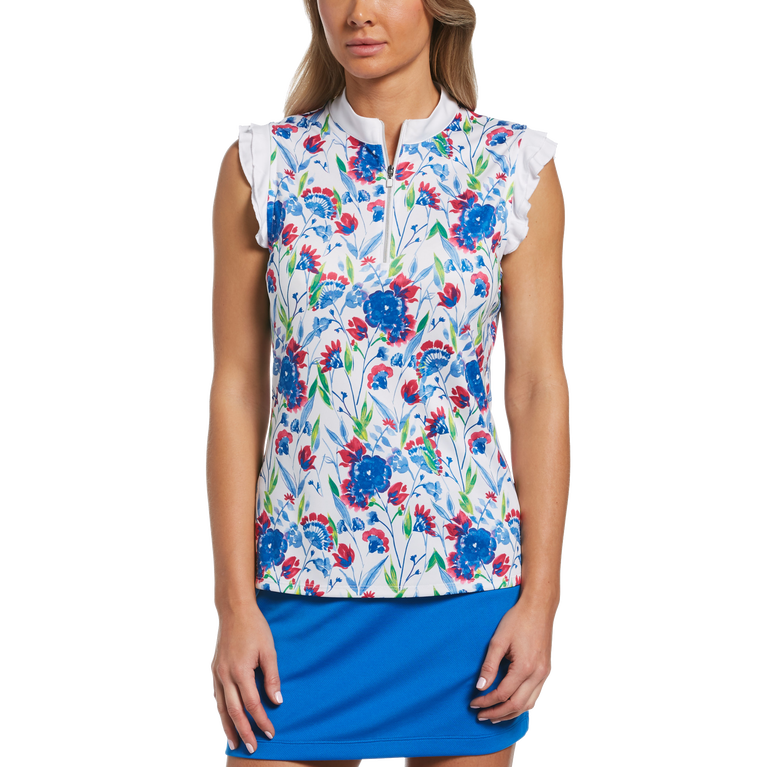 Blue Geo Collection: Painterly Floral Print Sleeveless Golf Shirt