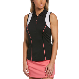 Ditsy Floral Collection: Sleeveless Racer Back Polo Shirt