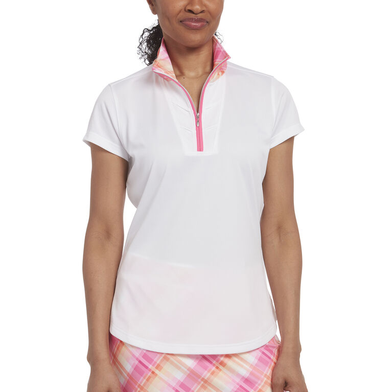 Pink Glo Group: Short Sleeve Plaid Collar Polo