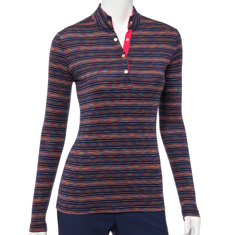 The Gemstones Collection: Long Sleeve Striped Mock Polo