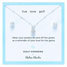 Golf Goddess Silver Golf Ball Necklace and Earrings Gift Set