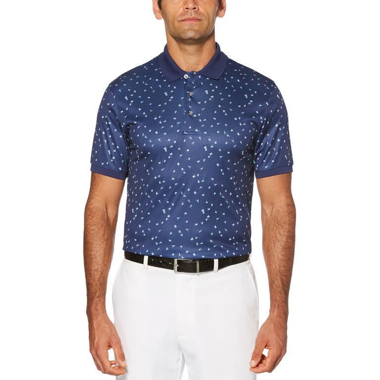 Pro Series Mini Flag Print Short Sleeve Polo Golf Shirt