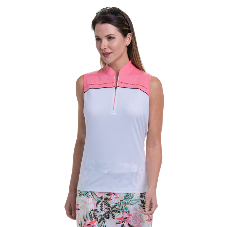 Cargo Chic Collection: Sleeveless Colorblock Quarter Zip Top