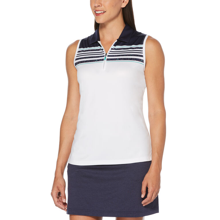 Rose Group: Women's Engineered Roadmap Print Sleeveless Polo Golf Shirt
