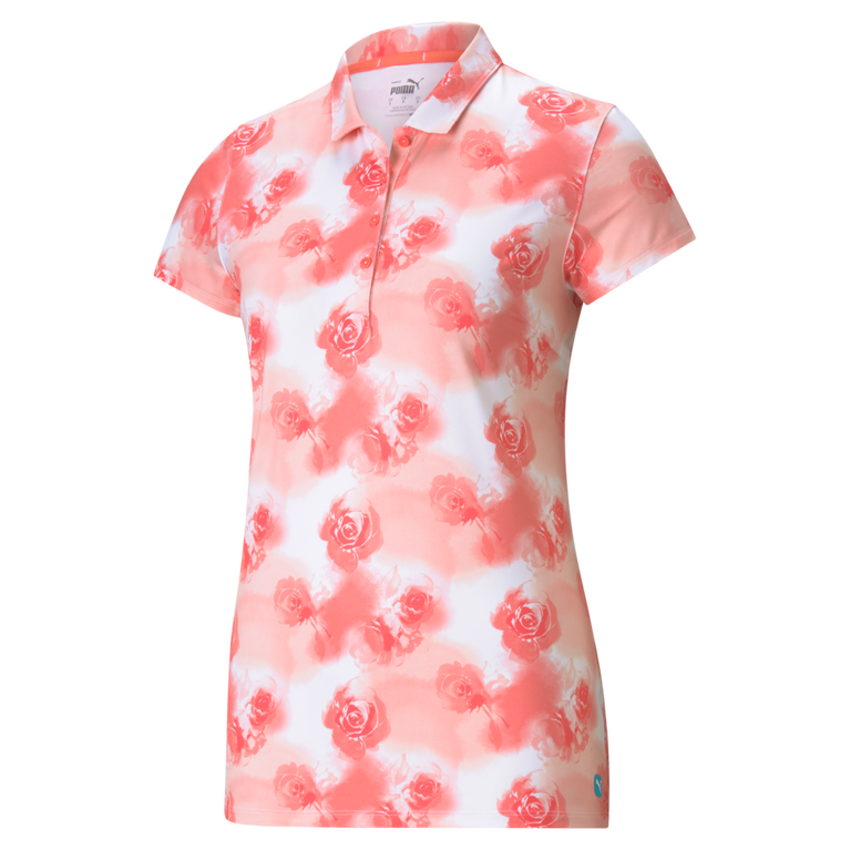 CLOUDSPUN Watercolor Floral Short Sleeve Polo Shirt