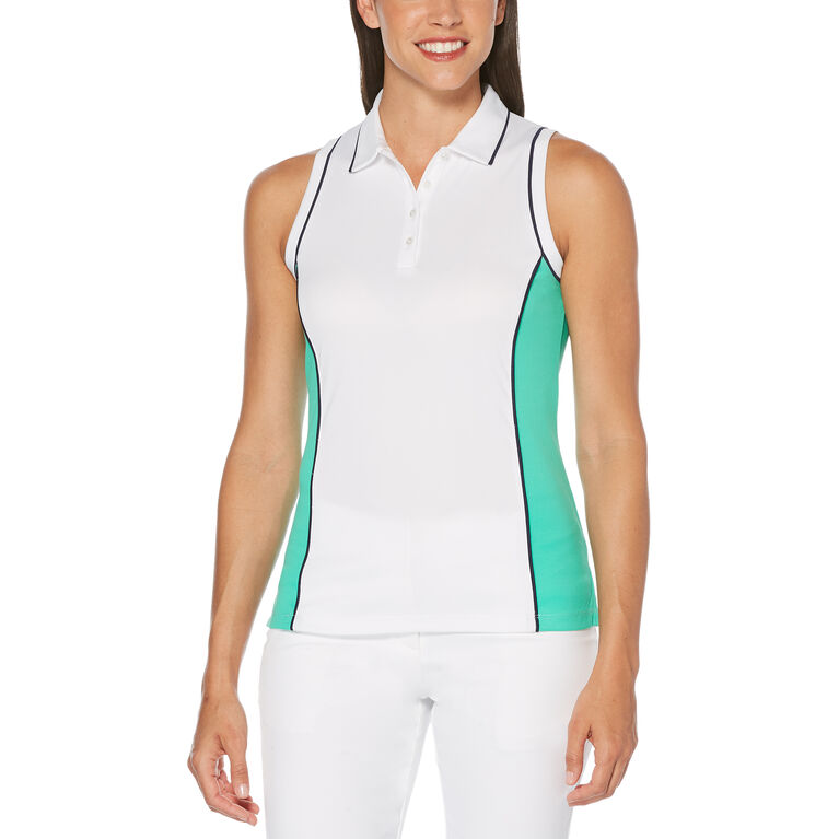 Green Group: Hourglass Color Block Sleeveless Polo Golf Shirt