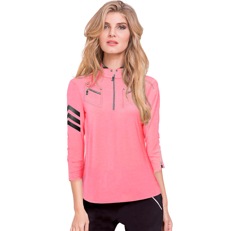 Sweetie Collection: Zip Placket 3/4 Sleeve Pull Over
