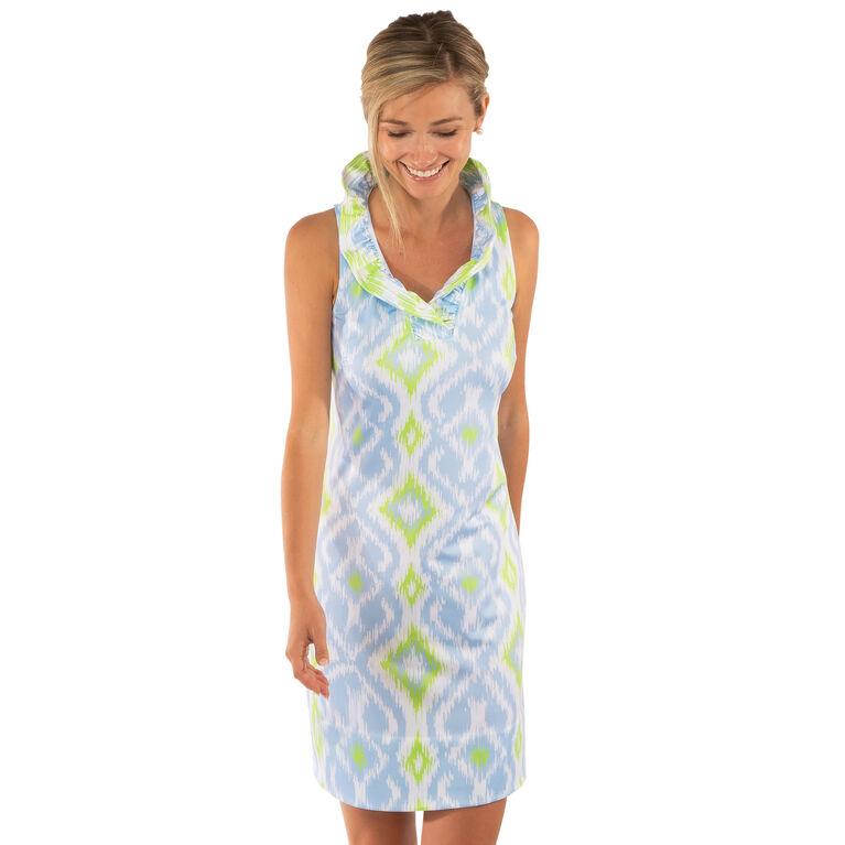 Jersey Ruffneck Sleeveless Dress - Kitt Ikat
