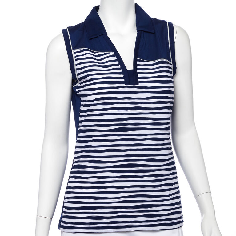 Silver Streak: Sleeveless Texture Stripe Polo