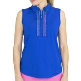 Sleeveless Embroidered Polo - Nautical Blue