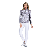 Alternate View 1 of Fun in the Sun Collection: Gingham Print Long Sleeve Quarter Zip Pull Over