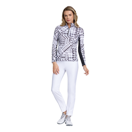 Fun in the Sun Collection: Gingham Print Long Sleeve Quarter Zip Pull Over
