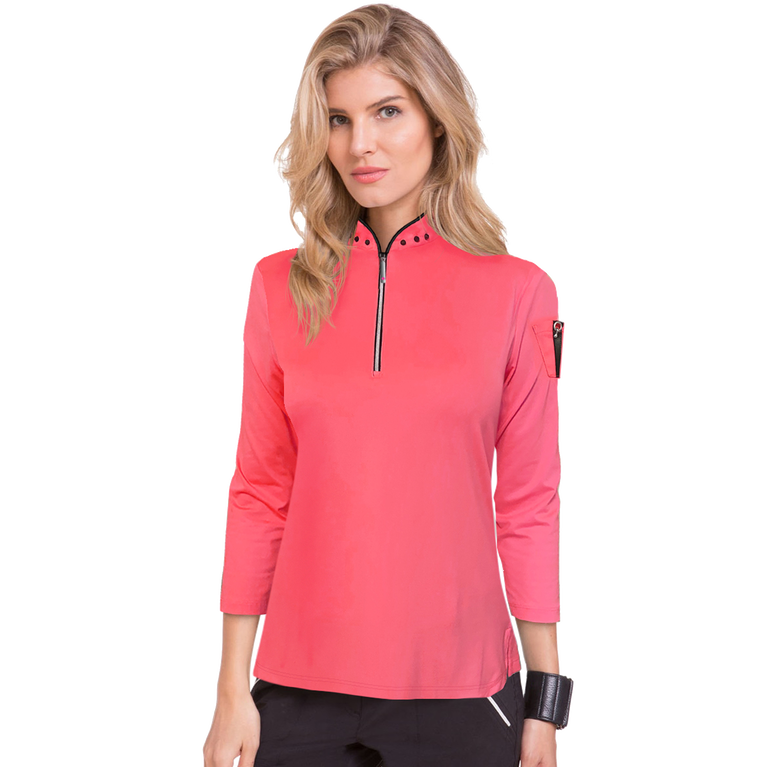 Mimosa Collection: Studded Long Sleeve Quarter Zip Pull Over