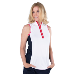 Cape May Collection:  Colorblock Sleeveless Mock